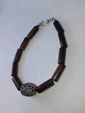 Bracciale uomo in legno marrone scuro e perla in ferro grigia