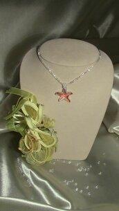Catenina con ciondolo stella marina in cristallo swarovski