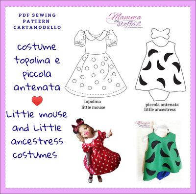 cartamodello pdf costumi carnevale topolina tipo Minnie e piccola antenata tipo ciottolina