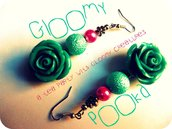 [ Teal Roses Earrings ]