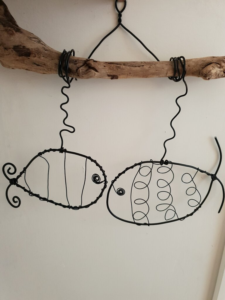 Decorazione pesci su legno di mare da parete
