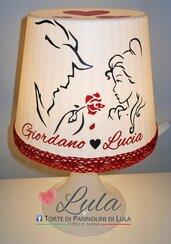 Idea regalo San Valentino Romantica Lampada personalizzata nome La Bella e la Bestia