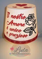 Idea regalo San Valentino Romantica Lampada personalizzata originale ragazza fidanzata lei cuore rosa fiore