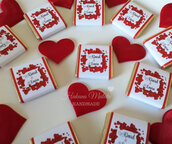 Set 20 etichette per Cioccolatini napolitains personalizzati/ San Valentino