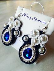 Orecchini Soutache con perle e strass