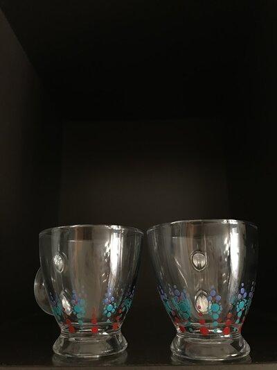 Set caffè in vetro con mandala dipinto a mano