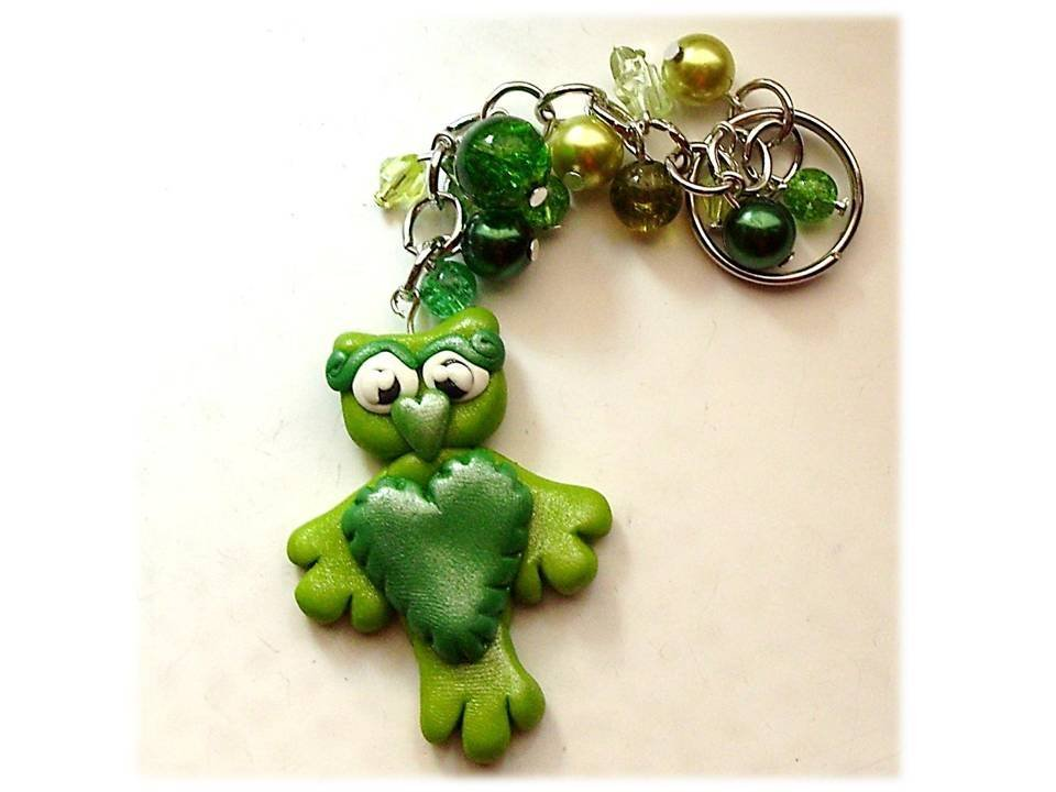 Portachiavi gufo-gufetto verde
