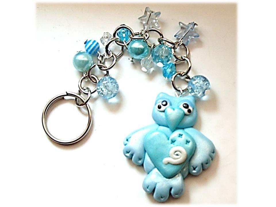 Portachiavi gufo-gufetto (azzurro)