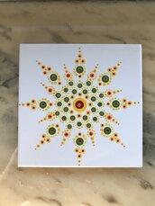 Piastrella sottopentola decorata con mandala
