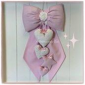 Fiocco nascita in cotone rosa con rosellina, cuori e stella sui toni bianco rosa
