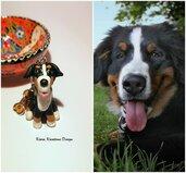 Portachiavi Bovaro del Bernese in fimo personalizzato con il nome come regalo per amante dei cani, ricordo cane bovaro del bernese