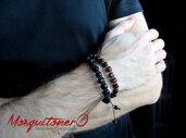 Bracciale shamballa con perle in Legno a cubo e nodi macrame, tibet ,mala, regalo per lui, avvolgente