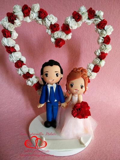 Topper sposi cartoon con cuore