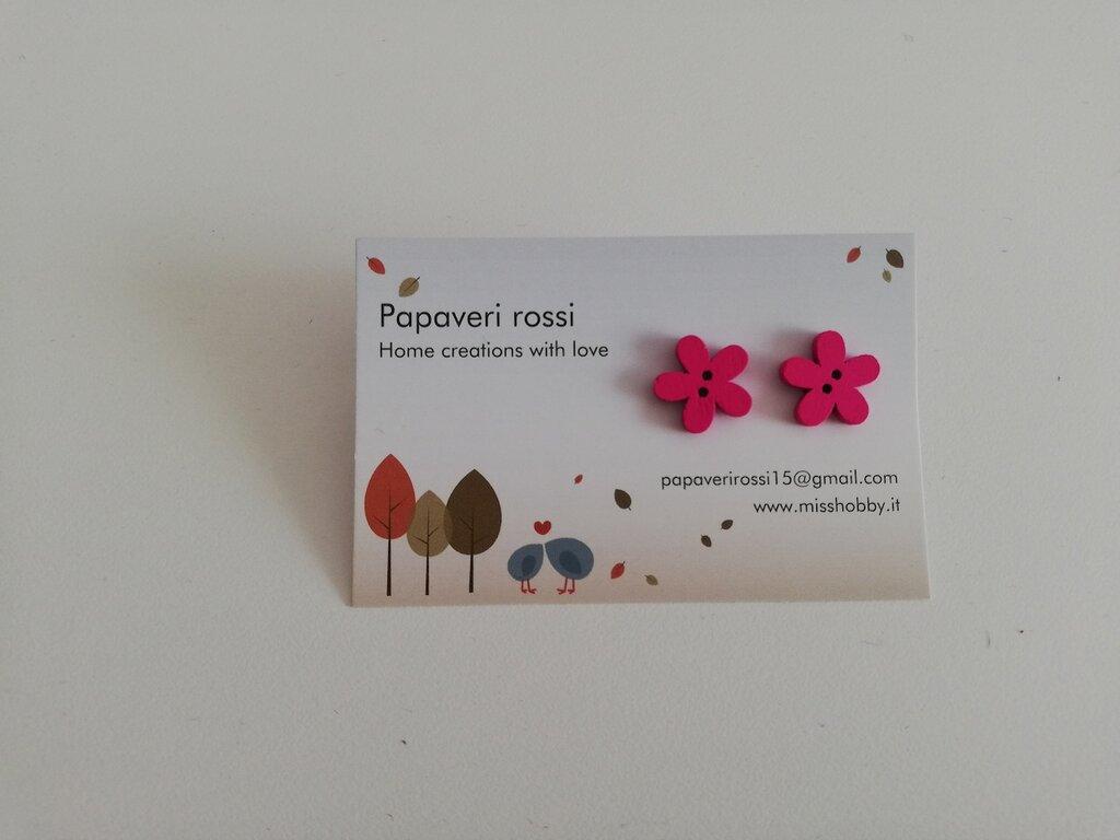 Orecchini fiore bottone legno