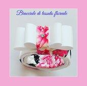 Bracciale di tessuto floreale con fiocco rigido