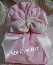Saccotto grande cotone rosa pois c/farfalla
