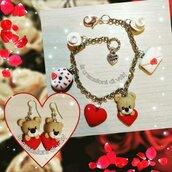 Bracciale e orecchini san valentino