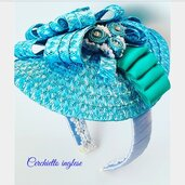 Cerchietto per capelli paglia color turchese
