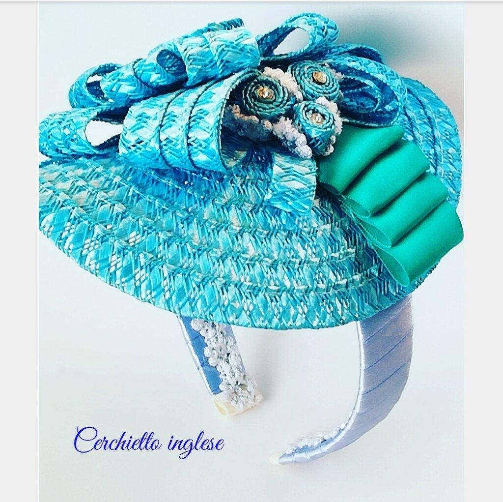 Cerchietto per capelli paglia color turchese - Donna ...
