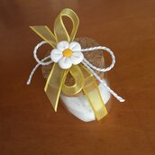 Barattolo in vetro con tappo in sughero e margherita bianca realizzata a mano in pasta FIMO