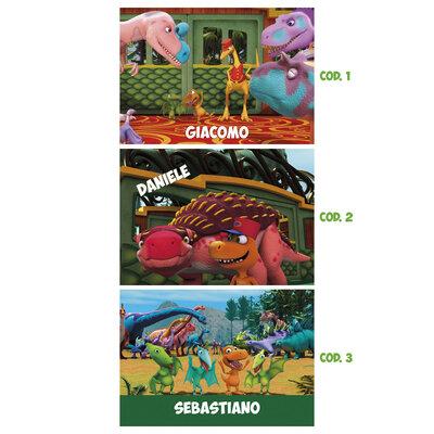 Tovaglietta americana Il treno dei dinosauri personalizzabile con il nome del tuo bambino*