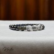 Bracciale donna pietra dura Howlite, serpentino, perle acciaio e rondelle strass - elastico artigianale