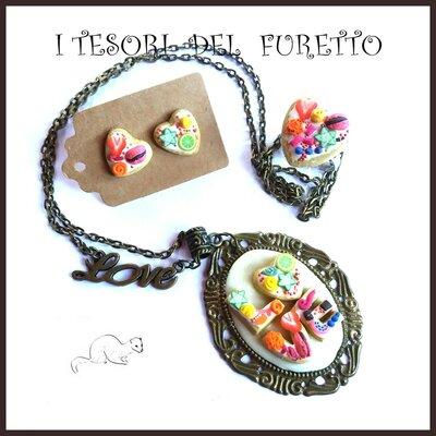 """Parure san Valentino """" Cuore dolcetti rainbow  """" idea regalo per lei anello collana orecchini"""