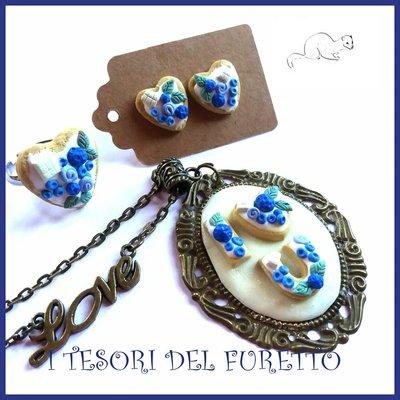 """Parure san Valentino """" cuore blu """" dolcetti macaroon fimo idea regalo per lei collana orecchini  anello"""