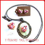 """Parure san Valentino """" cuore rosso """" dolcetti macaroon fimo idea regalo per lei collana orecchini  anello"""