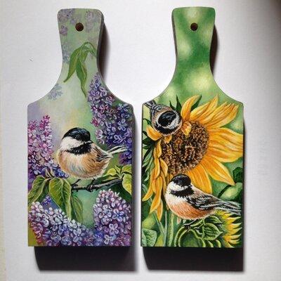 Set di taglieri in legno dipinti  -   Fiori e Uccellini