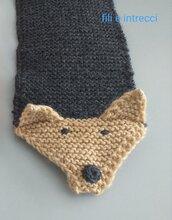 Sciarpa scaldacollo bimbo in lana fatta a mano ai ferri modello volpe