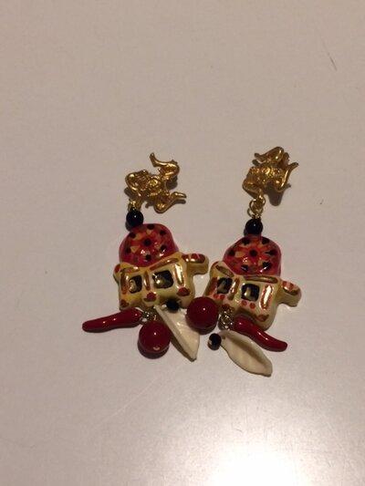 orecchini pendenti con ceramiche