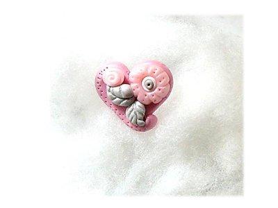 Anello cuore pink-silver fimo