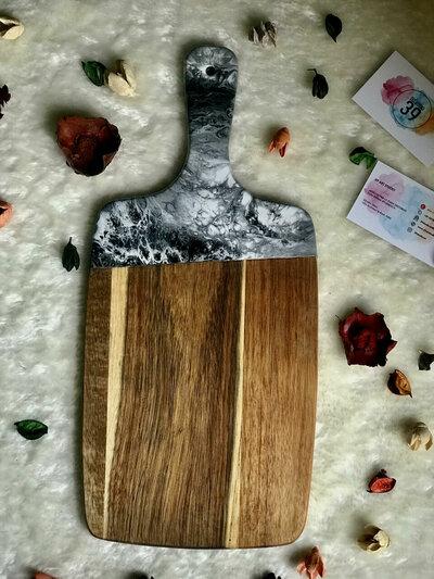 Tagliere Con Effetto Marmo Resina Nero, Bianco & Grigio 42 cm