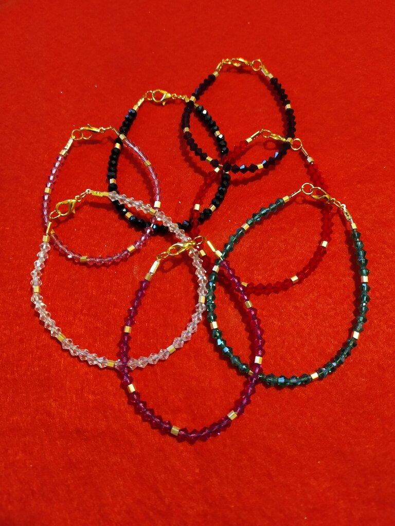 Bracciali in cristallo e perline