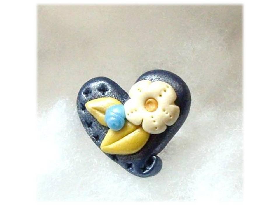 Anello cuore blue fimo