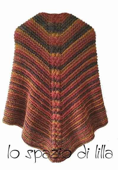Scialle ai ferri con treccia centrale, in misto lana con alpaca, multicolor, moda donna