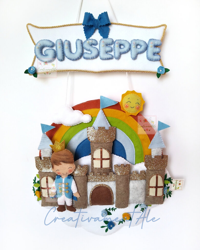 Fiocco nascita - Principe con castello, nuvola e arcobaleno