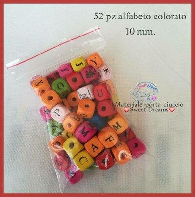 OFFERTA!! Lotto 52 pezzi alfabeto colorato 10 mm.