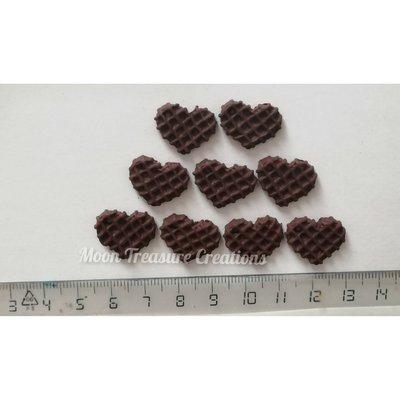 Set 9 ciondoli waffle al cioccolato in fimo (già forati)