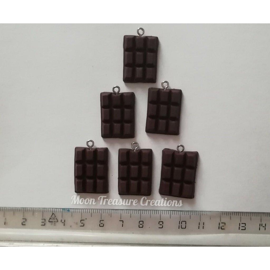 Set 6 Ciondoli barretta cioccolato in fimo