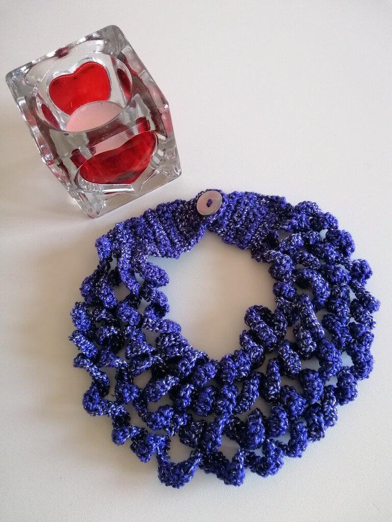 Collana blu pervinca a 4 fili