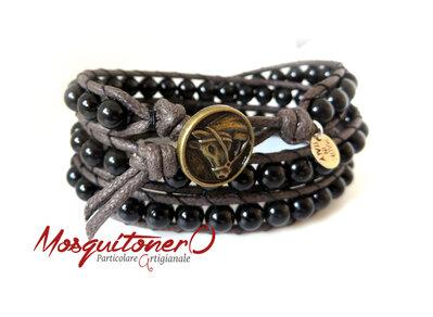 Bracciale uomo con perle in pietra Ossidiana nera lucida, bracciale pallini ,bracciale sfere, per lui stile etnico avvolgente