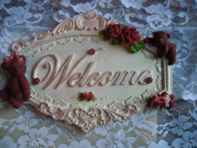 TARGA WELCOME in polvere di ceramica dipinta a mano Pezzo Unico