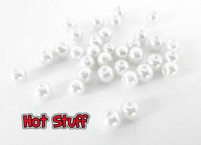 40 Perline di Vetro cerato - Bianco (6mm)