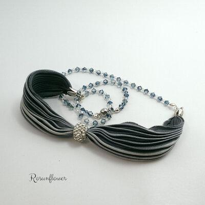 Bracciale di seta a fascia, collana di seta,  bracciale boho, idea regalo, argento 925, regalo mamma, regalo per lei