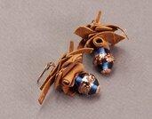 orecchini pendenti riciclo creatico con perla vetro Boemia lavorata a lume