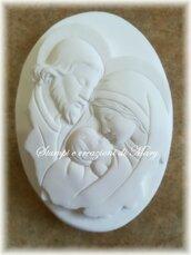 Stampo icona ovale Sacra famiglia in silicone 9,5x6,5