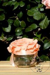 Barattolo decorato con ortensia - bomboniera