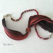 Bracciale rosso a fascia con cristalli Swarovski, bracciale di seta, regalo laurea, bracciale wrap argento 925, bracciale boho, regalo per lei